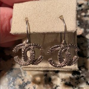 Authentic Chanel silver wire hook earrings